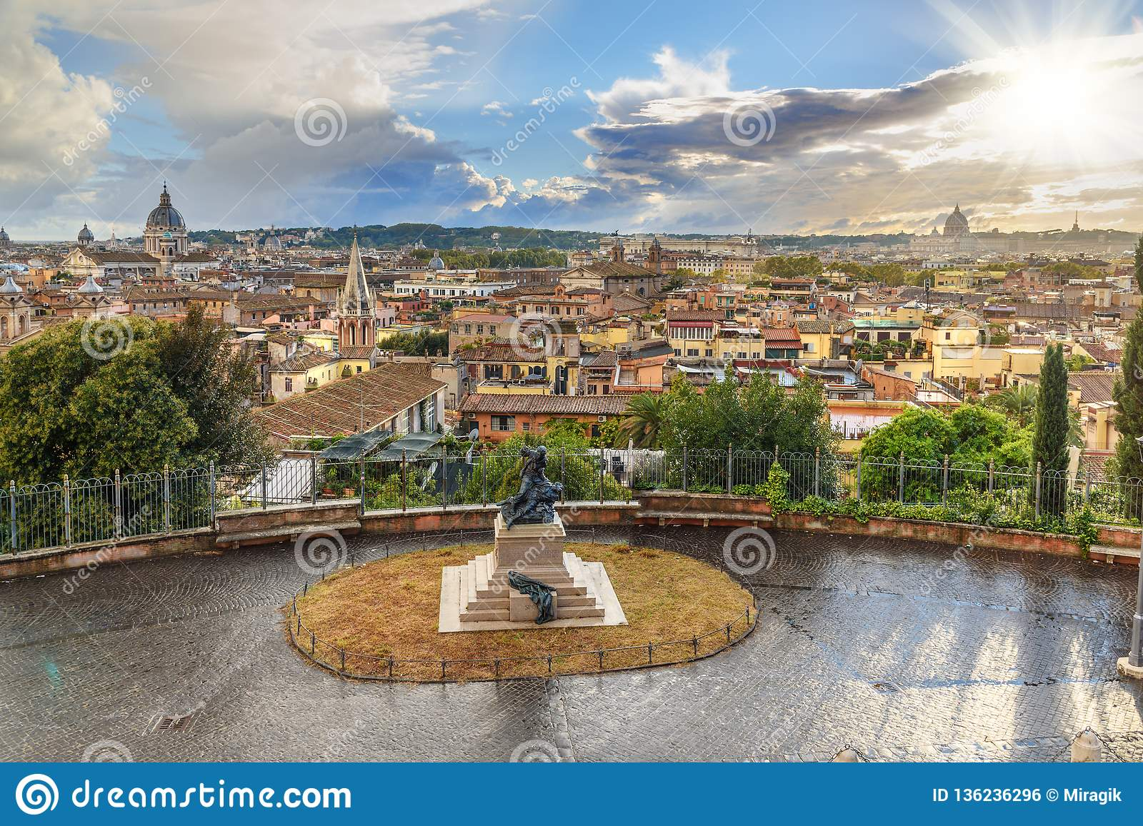 View On Rome From Terrazza Viale Del Belvedere Italy Stock