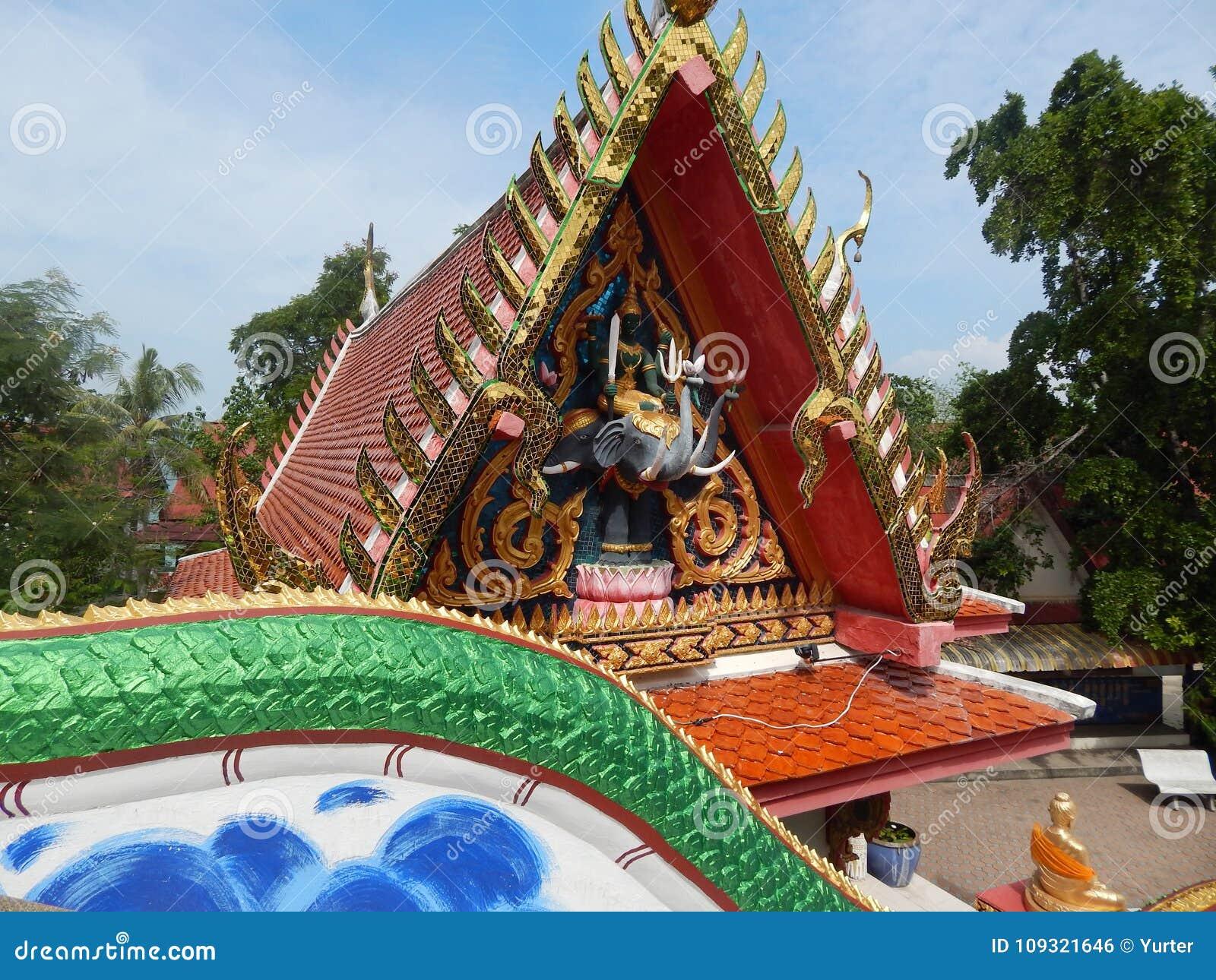 Thailand Samui Island Buddhist Temple Items Of Furniture Stock