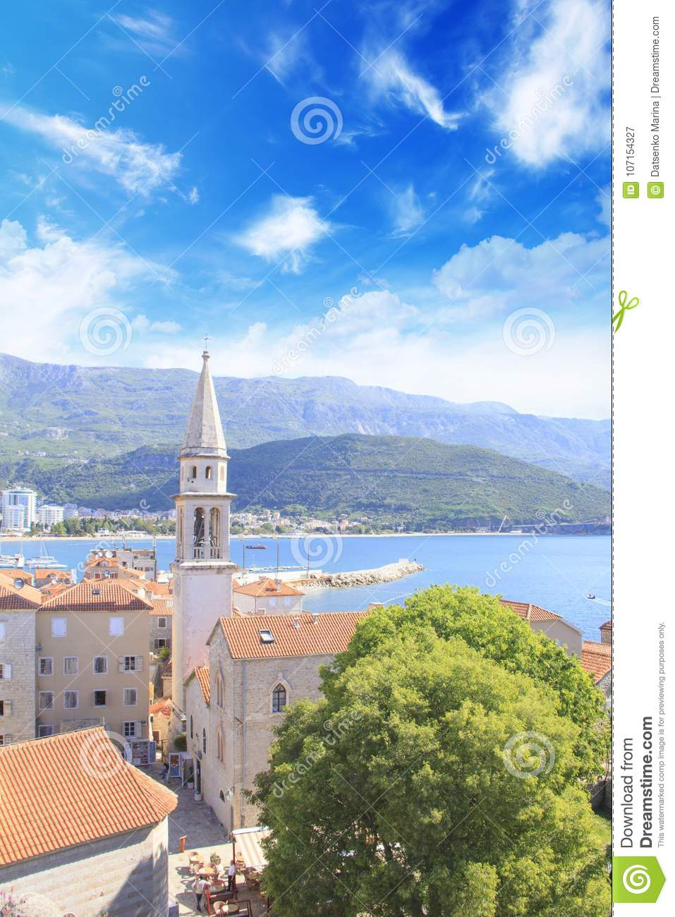 View Of The Rooftops And The Bay Of Budva In Montenegro In ...