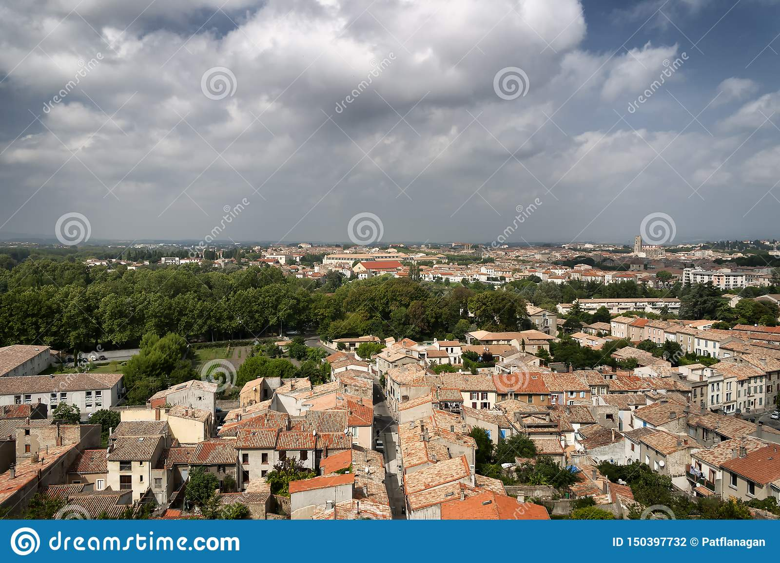 A view of rooftops over a French city