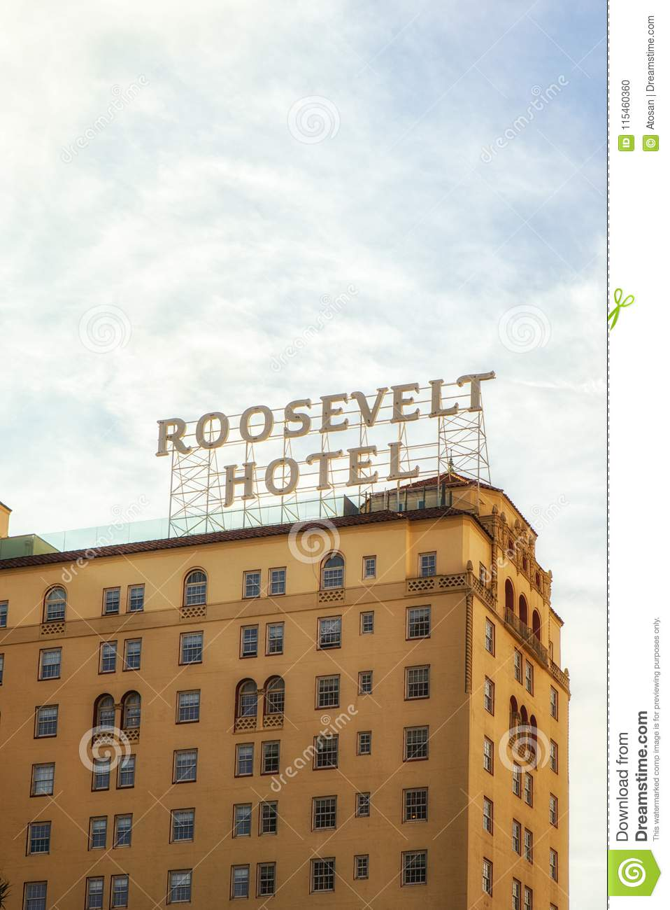 View Of The Roosevelt Hotel In Hollywood California
