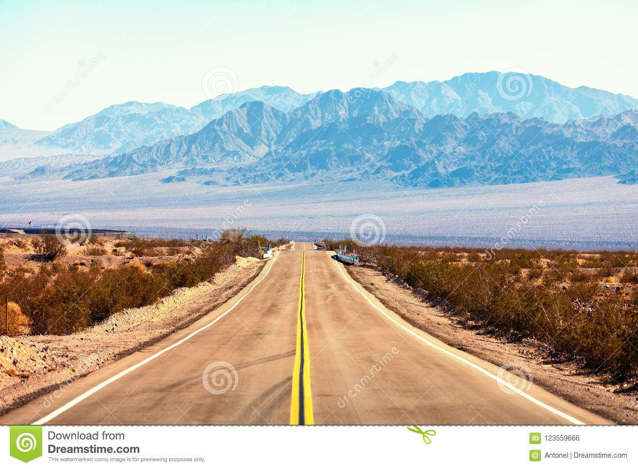 View from the Route 66, Mojave Desert, Southern California, United States