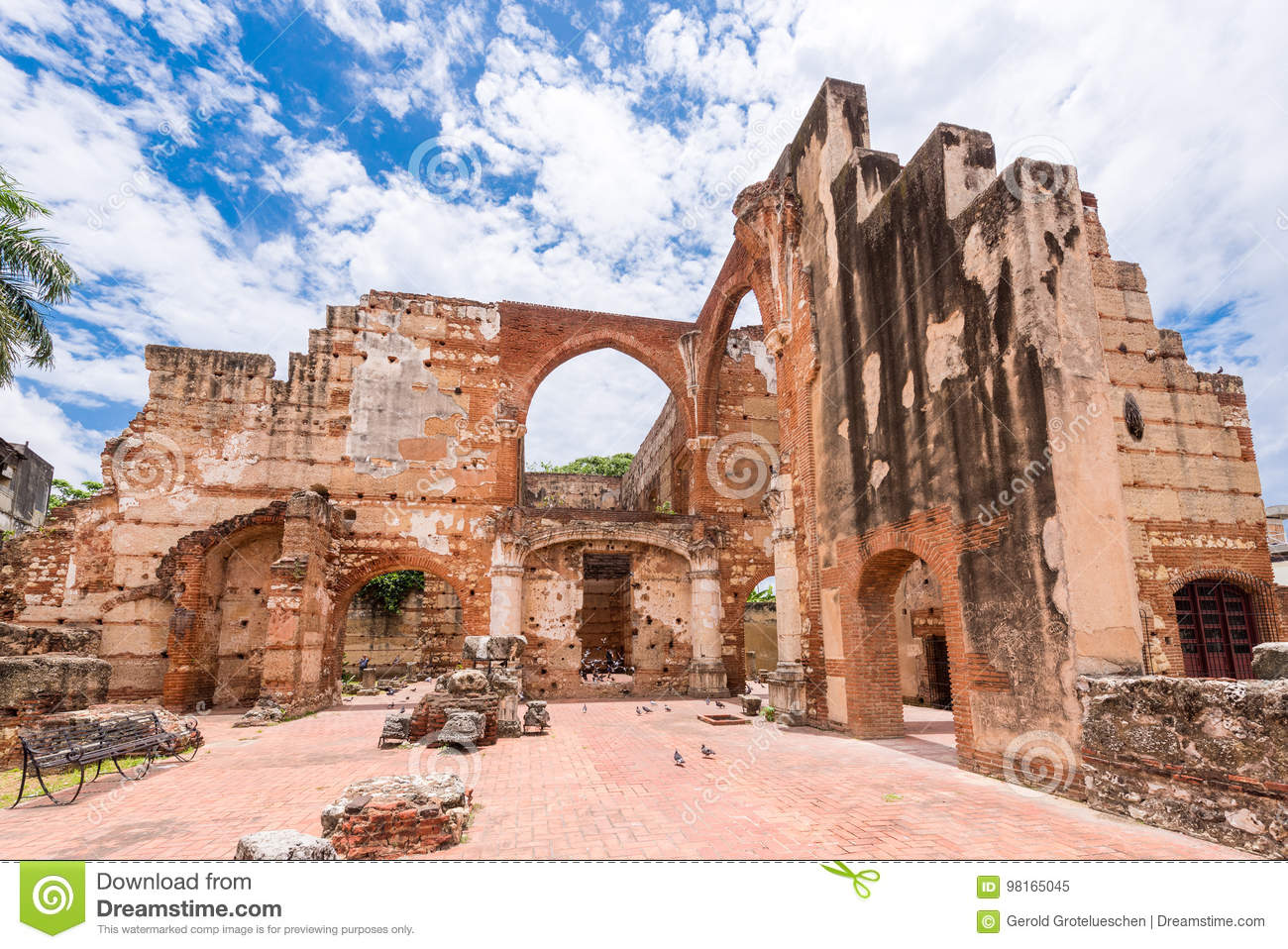 View on Ruins of the Hospital of St. Nicolas of Bari, Santo Domingo, Dominican Republic. Copy space for text.