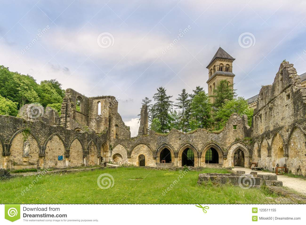 View at the ruins of Villers devant Orval Monastery in Belgium