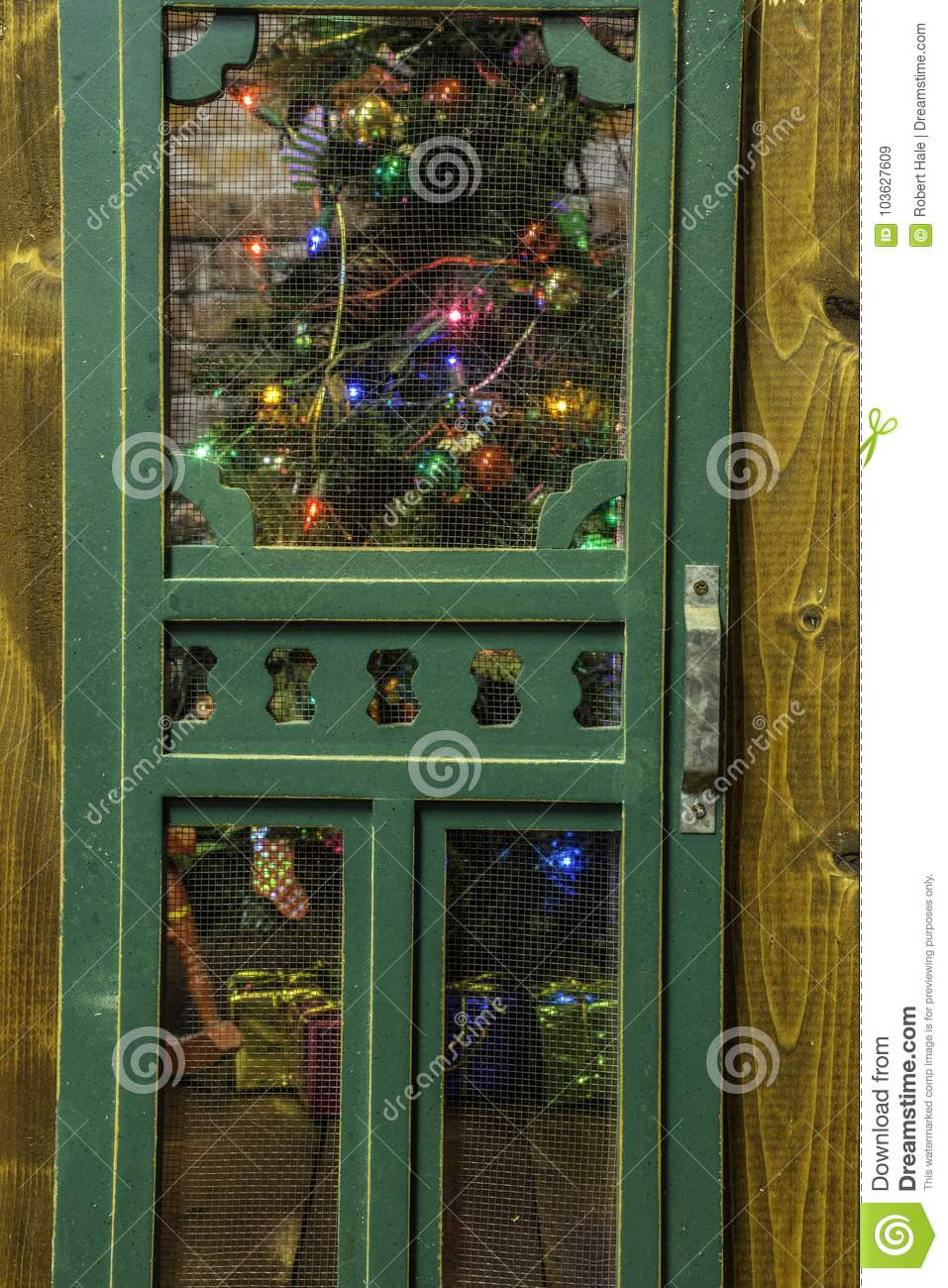 Christmas Tree Trough Rustic Screen Door Stock Image Image Of Pine