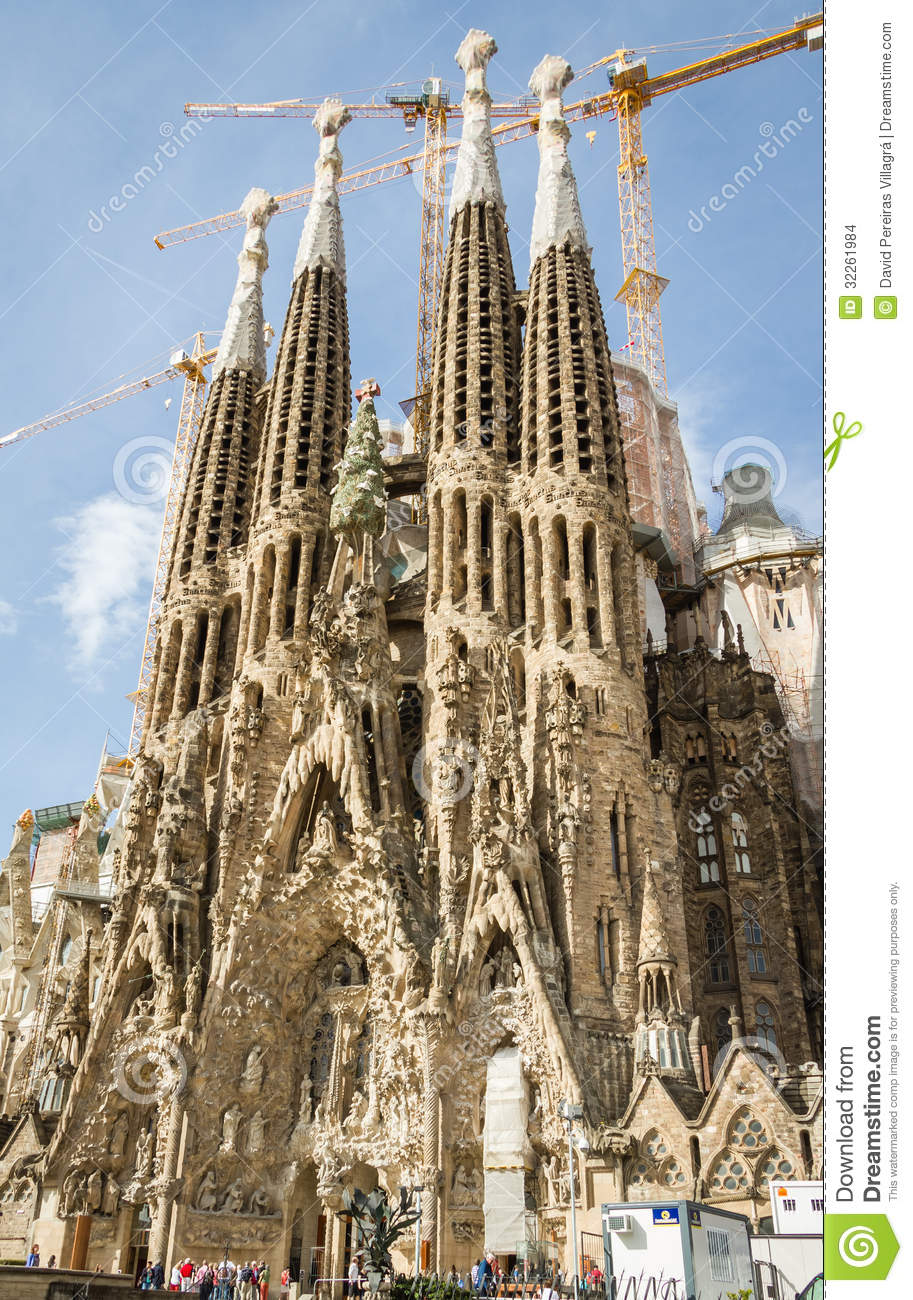 view of the sagrada familia cathedral designed by antoni gaudi editorial stock image image. Black Bedroom Furniture Sets. Home Design Ideas