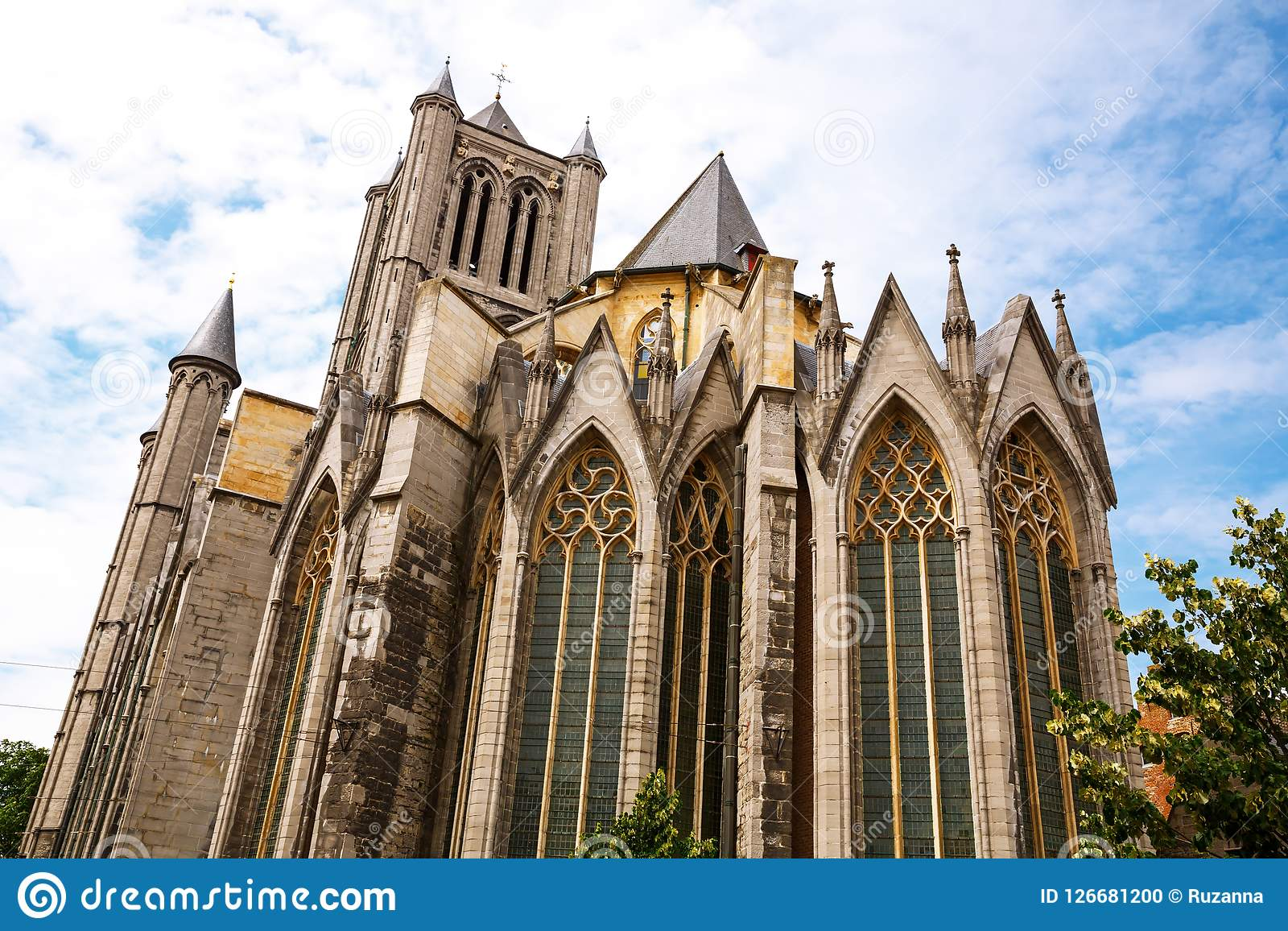 Saint Nicholas Church in Ghent. The view of the Saint Nicholas Church in the historical medieval city Ghent, Belgium Stock Photo