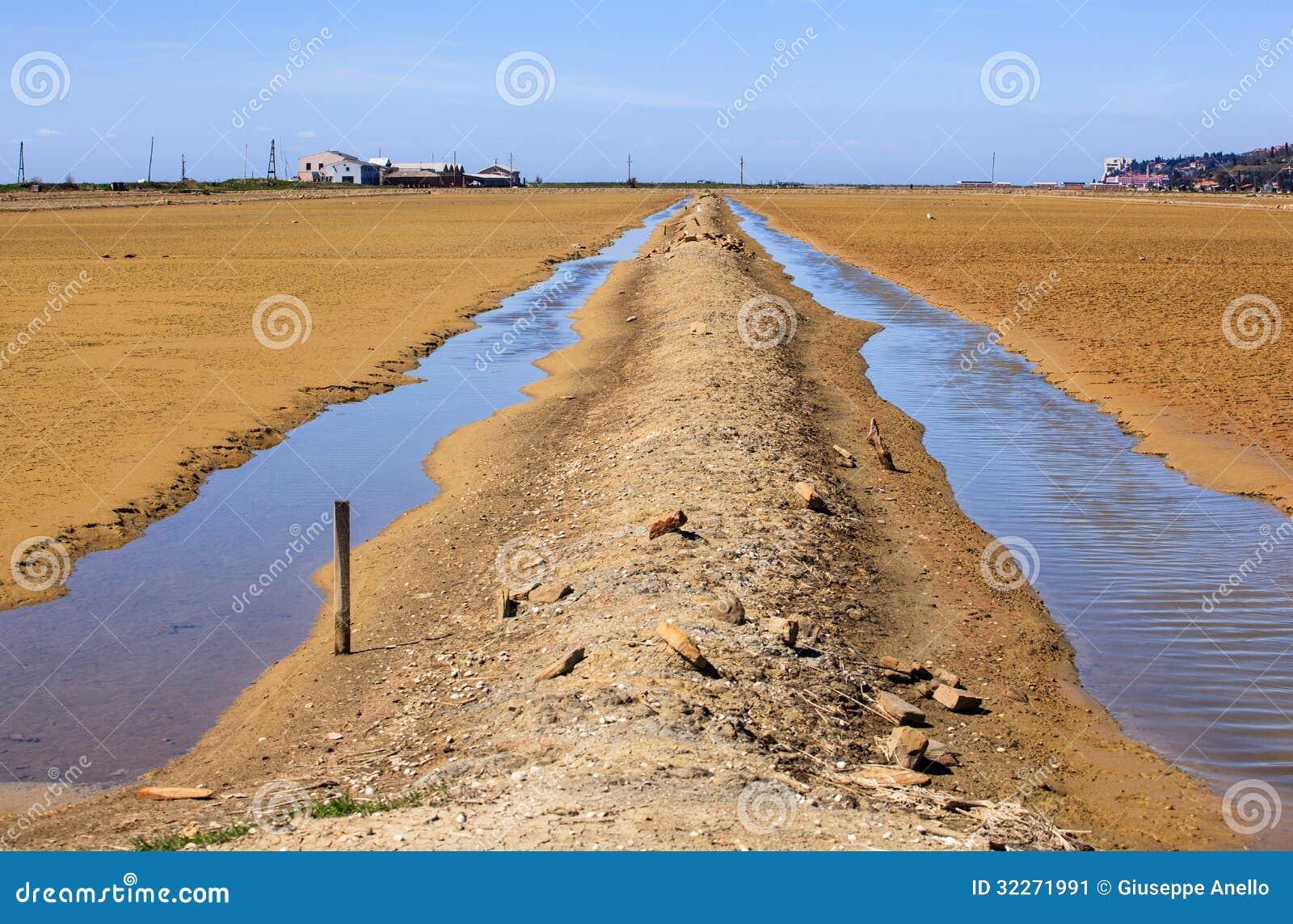 View of salt evaporation ponds in secovlje stock image for Design of evaporation pond
