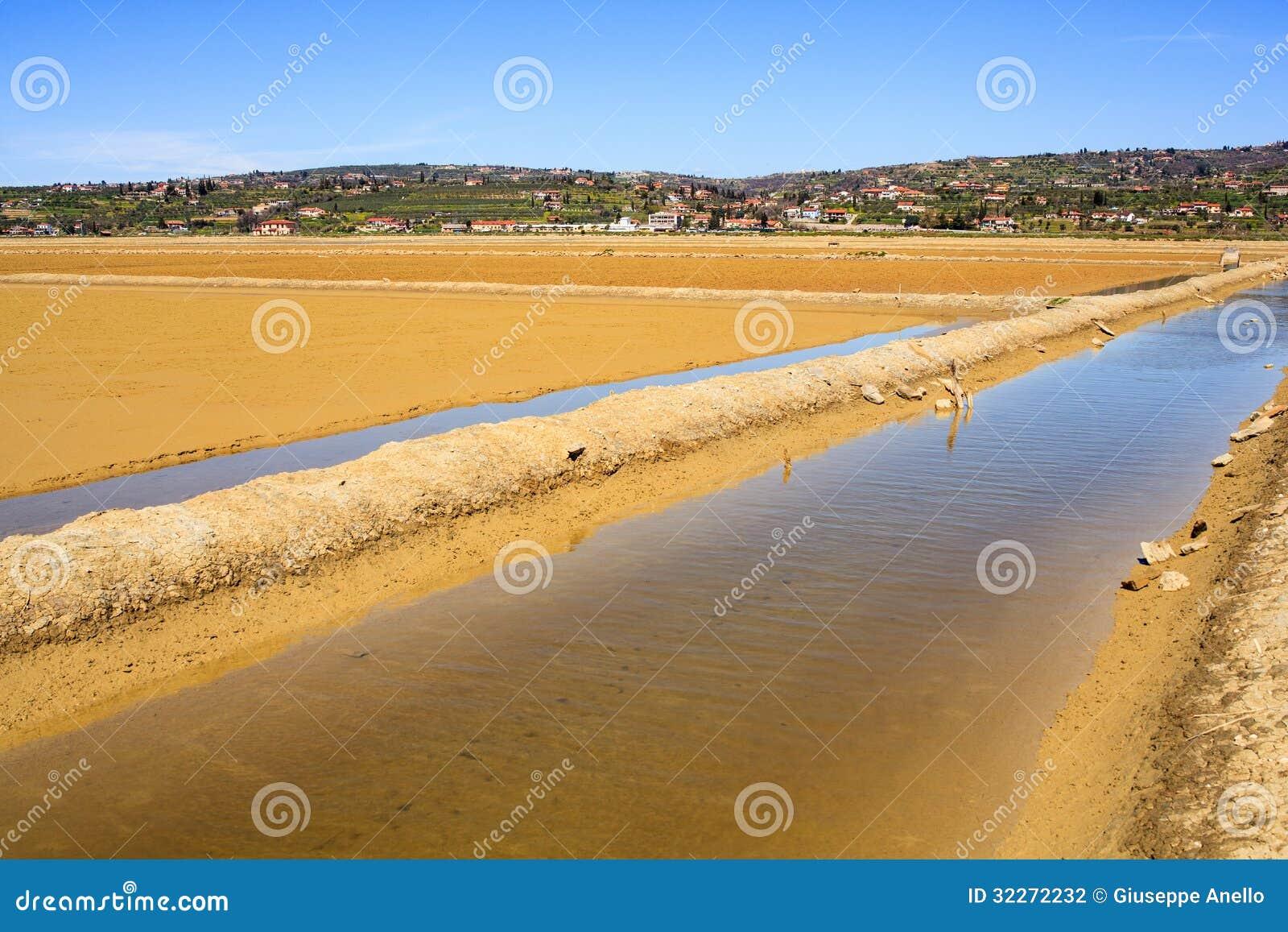 View of salt evaporation ponds in secovlje stock for Design of evaporation pond