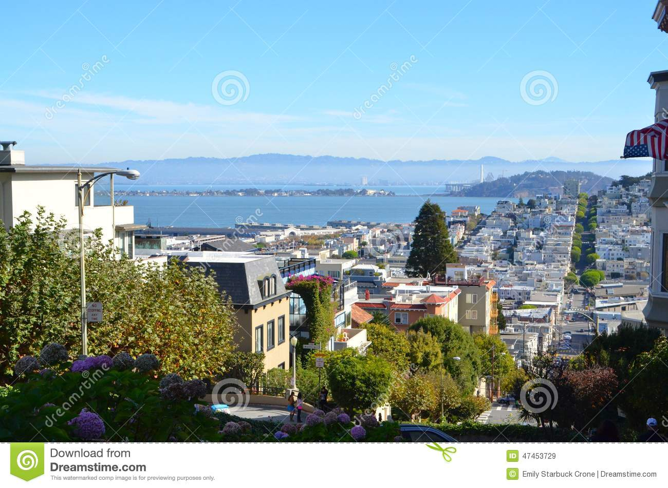 View of san francisco bay and historic homes stock image for Best homes in san francisco