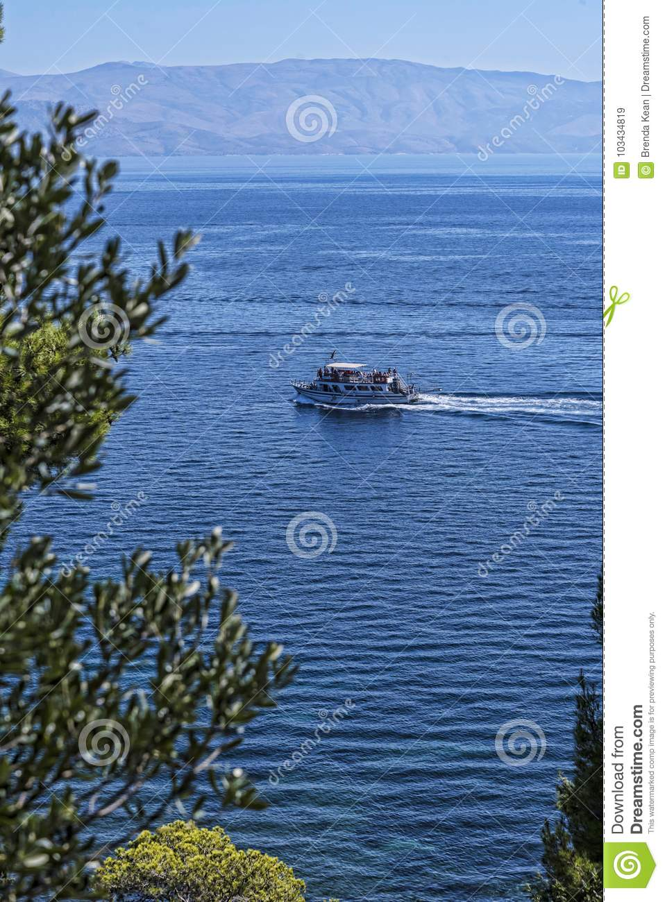 View of the sea from the Grounds of the Mon Pepose Palace in Corfu Greece