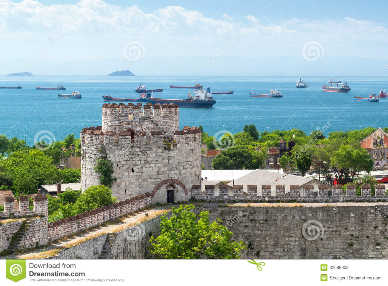 View Of Sea Of Marmara From Yedikule Fortress In Istanbul Stock Photography -...