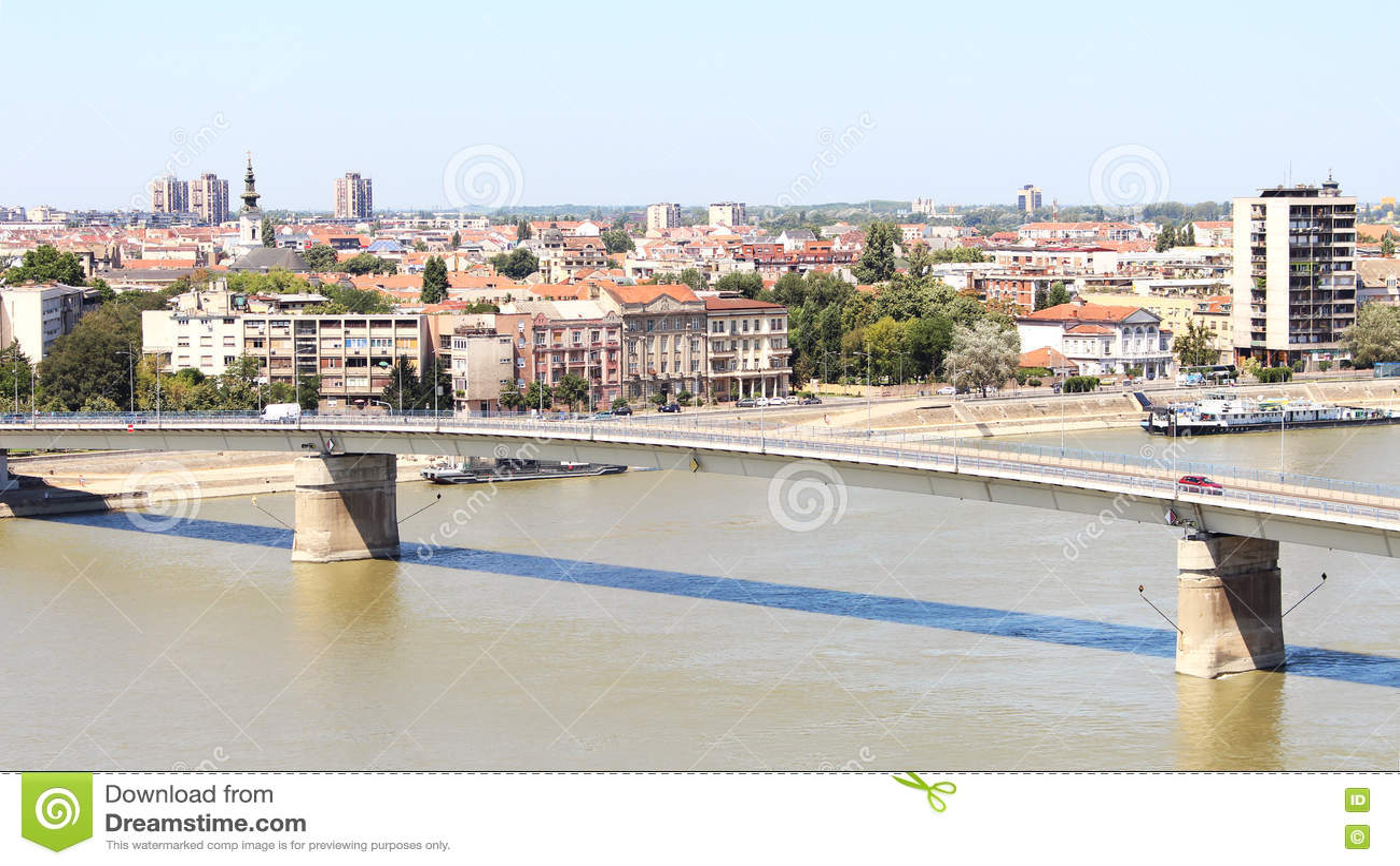 View of the Serbian city of Novi Sad and the bridge over the Dan