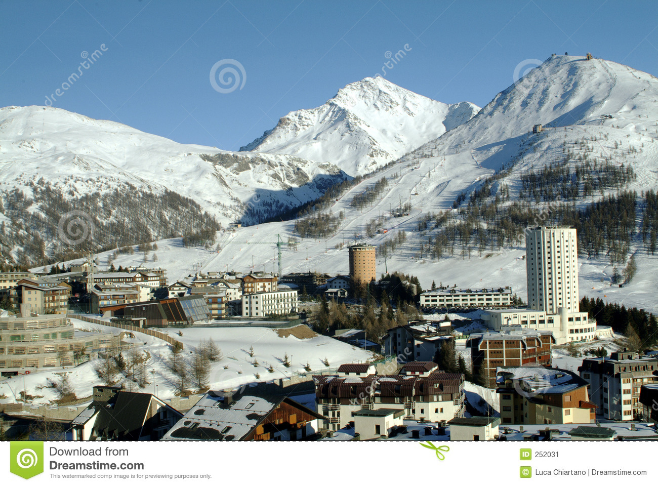 winter view of sestieres in the valley of Turin Olympic Winter Games ...