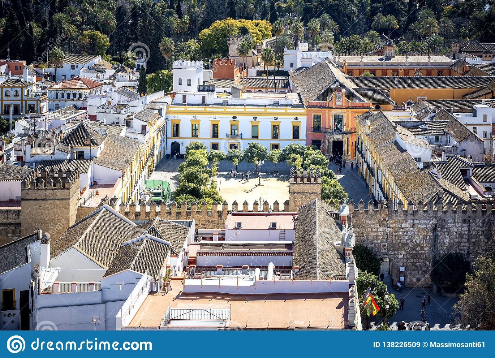 Aerial view of Seville city from the Giralda Cathedral tower, Seville Sevilla, Andalusia, Southern Spain