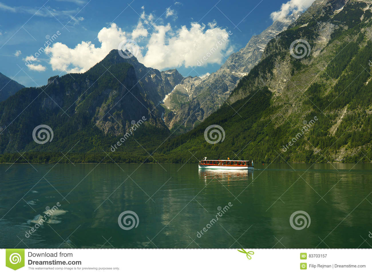 View Of The Sheep On The Lake Of Königsee Stock Photo