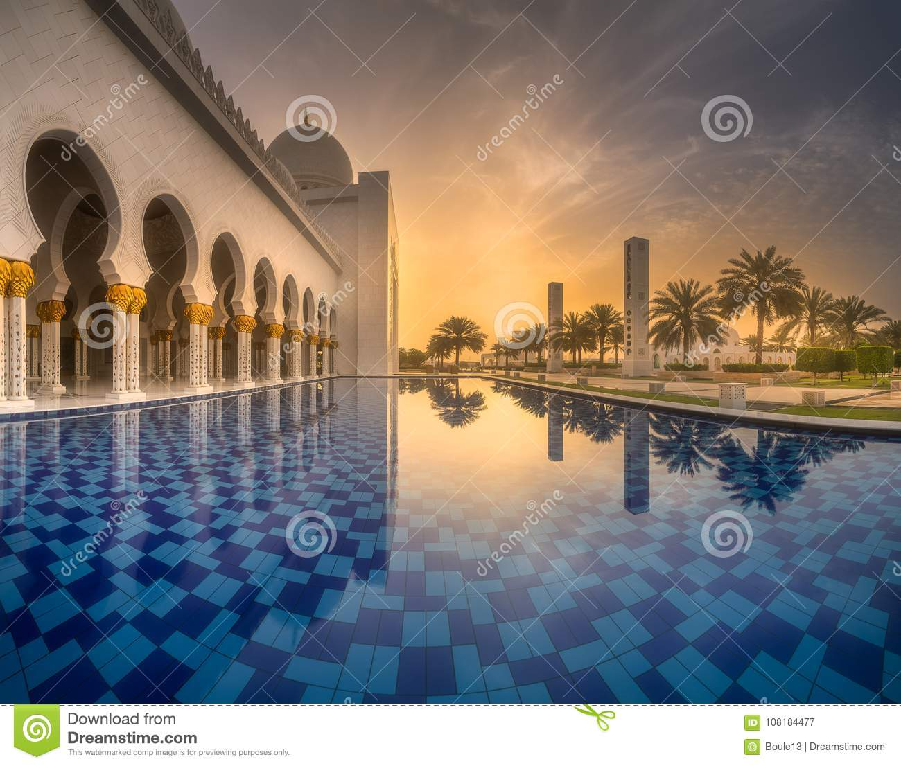 View of Sheikh Zayed Grand Mosque from water
