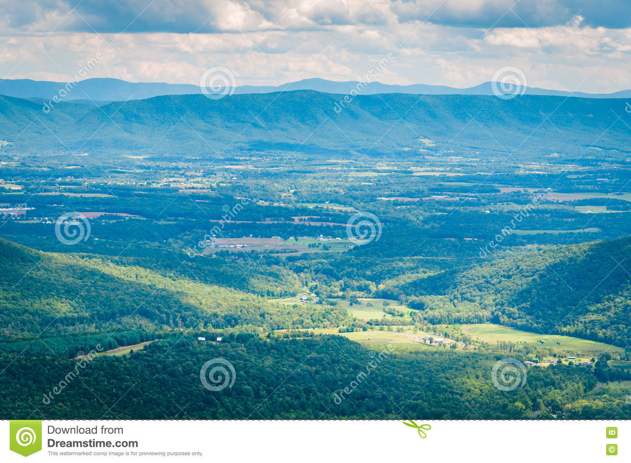 View of the Shenandoah Valley and Appalachian Mountains from the
