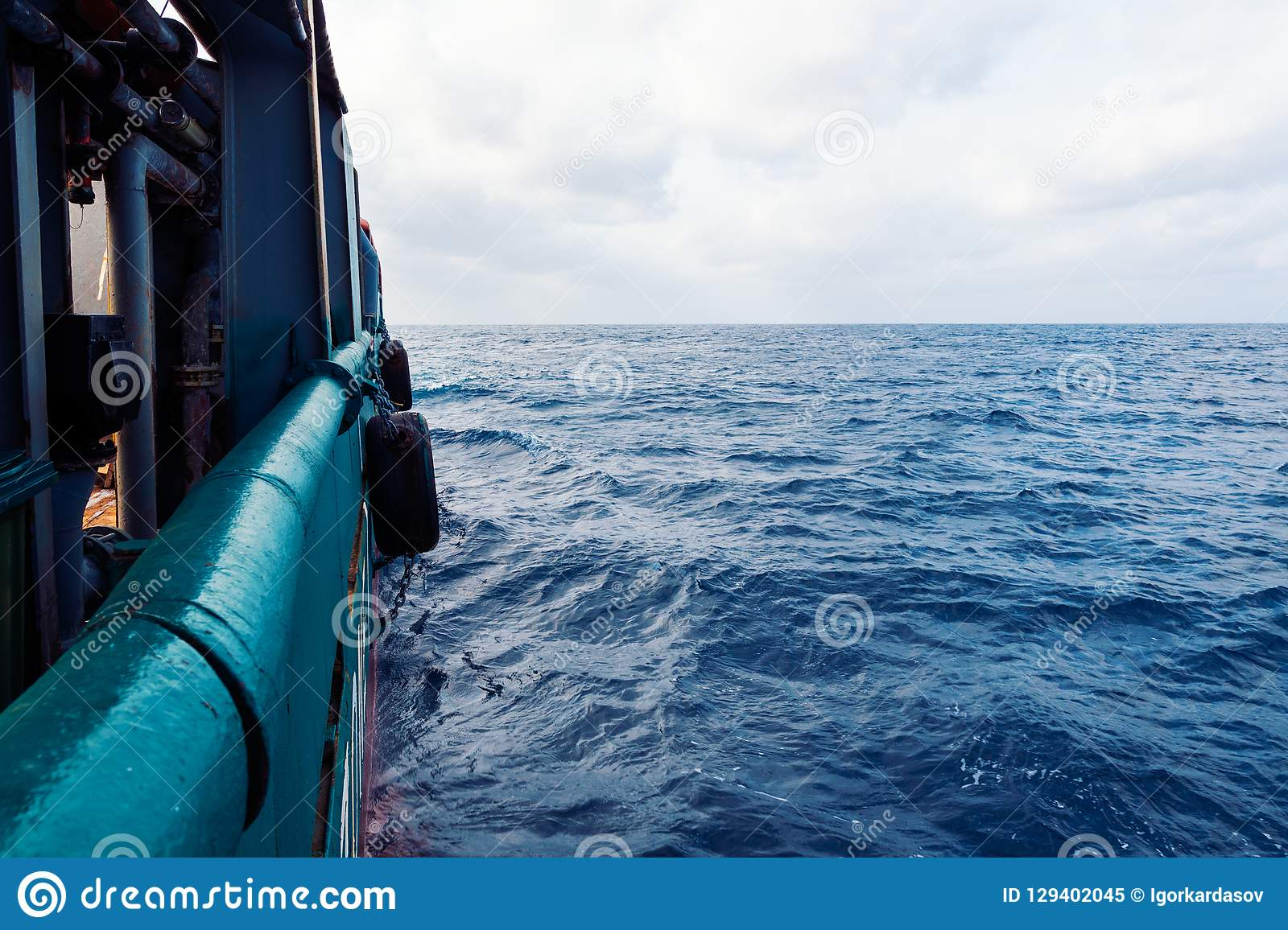 View from ship or vessel deck to open sea - beautiful seascape.  royalty free stock photo