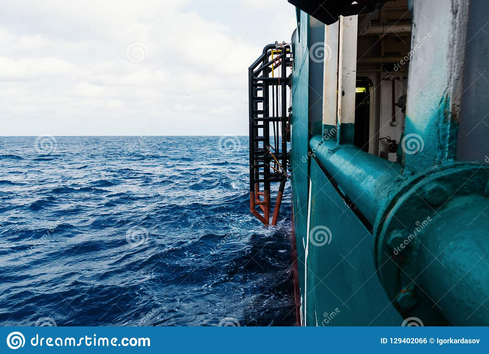 View from ship or vessel deck to open sea - beautiful seascape.  royalty free stock image