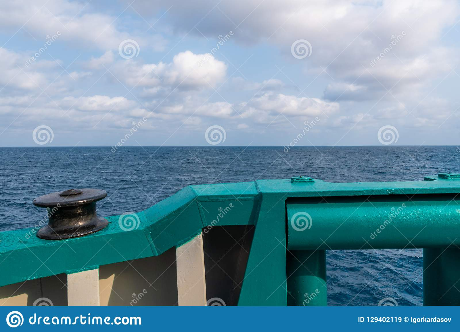 View from ship or vessel deck to open sea - beautiful seascape.  royalty free stock images