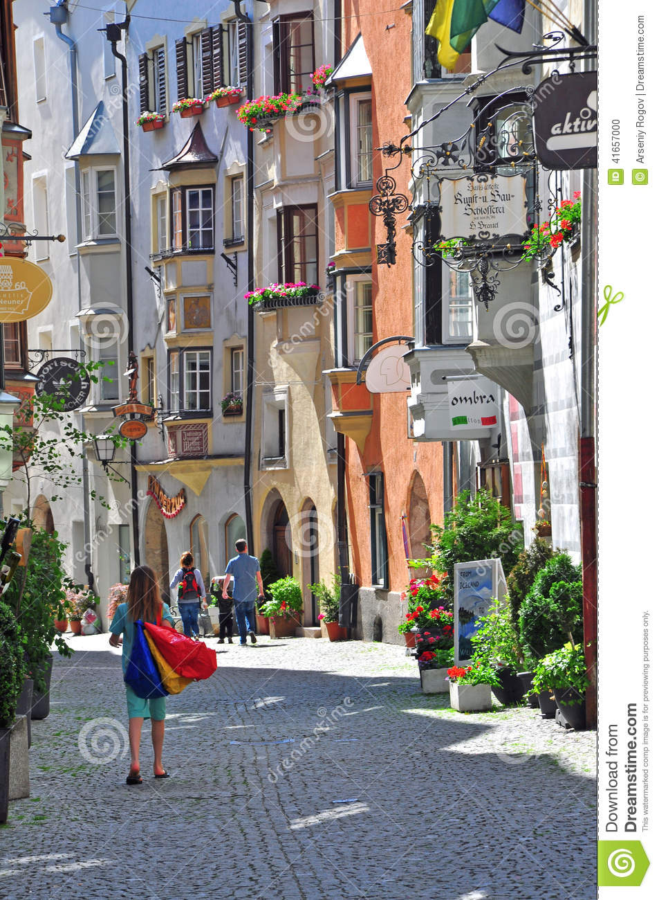 View of a shopping street in austrian city