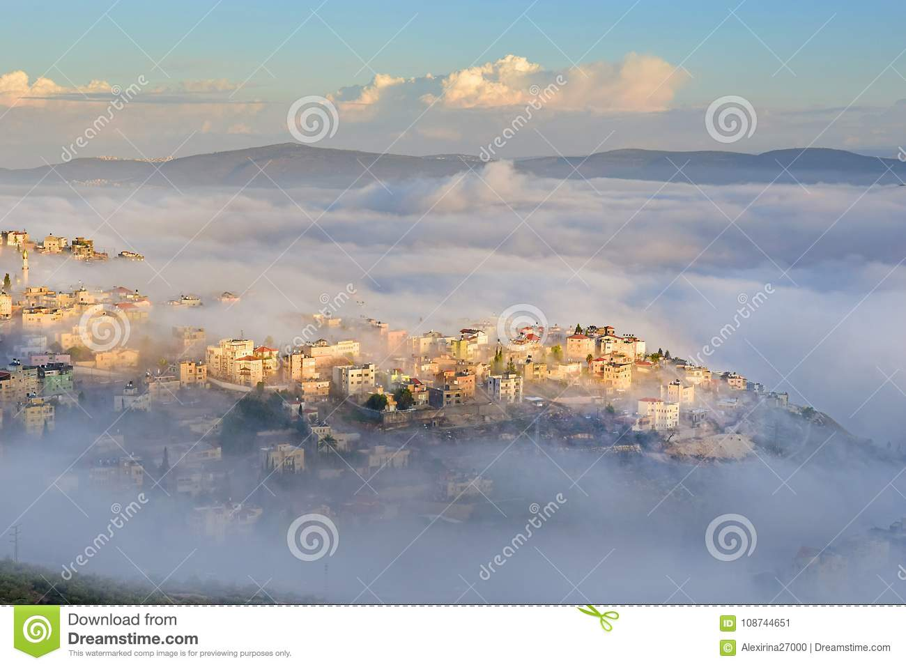 View Of The Shrouded In The Morning Fog Biblical Village Cana Of Galilee Kafr Kanna Neighborhood Nazareth In Israel Place Where Jesus Christ Showed First