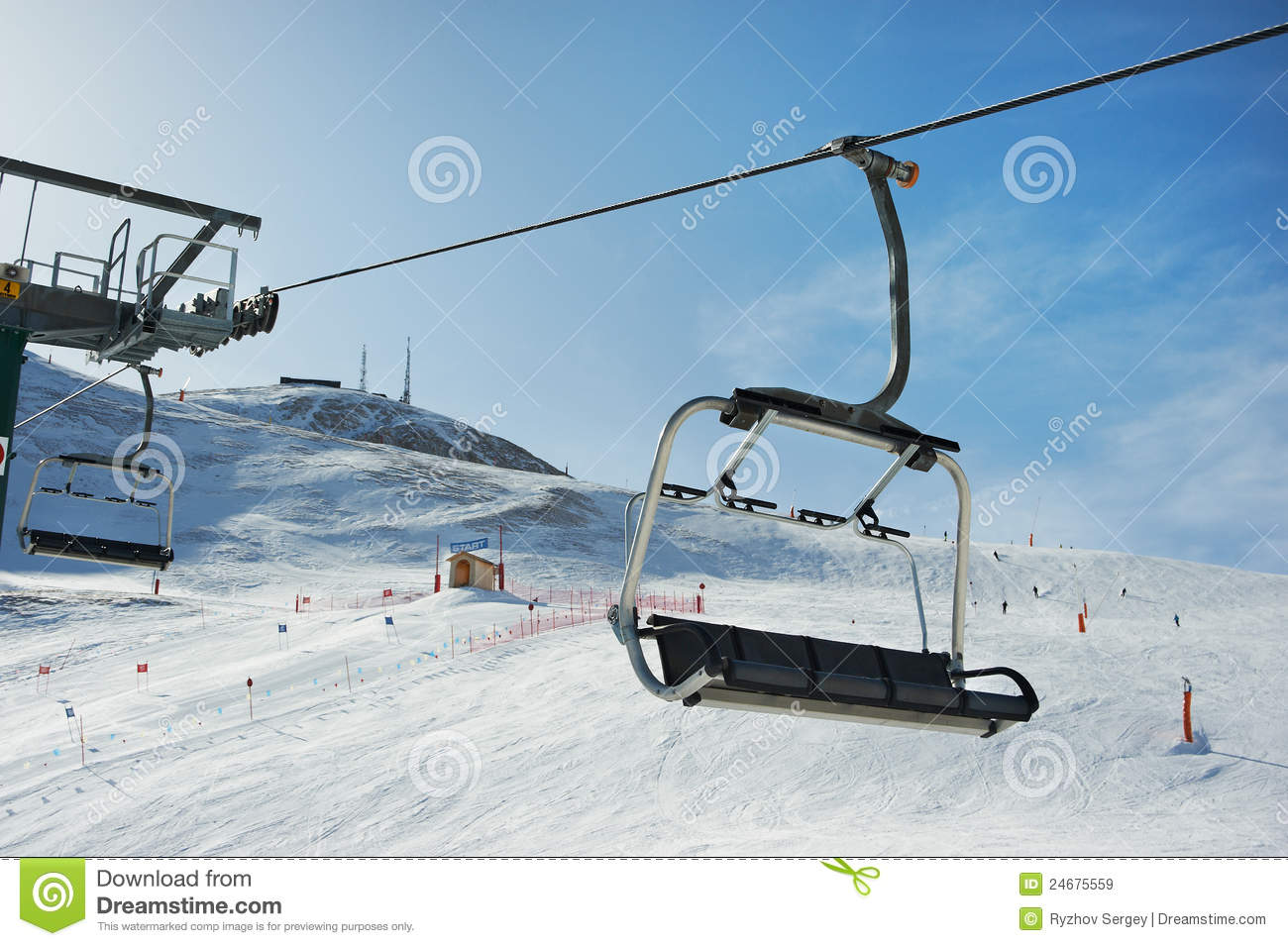 View Of The Ski Slopes And Chair Lifts