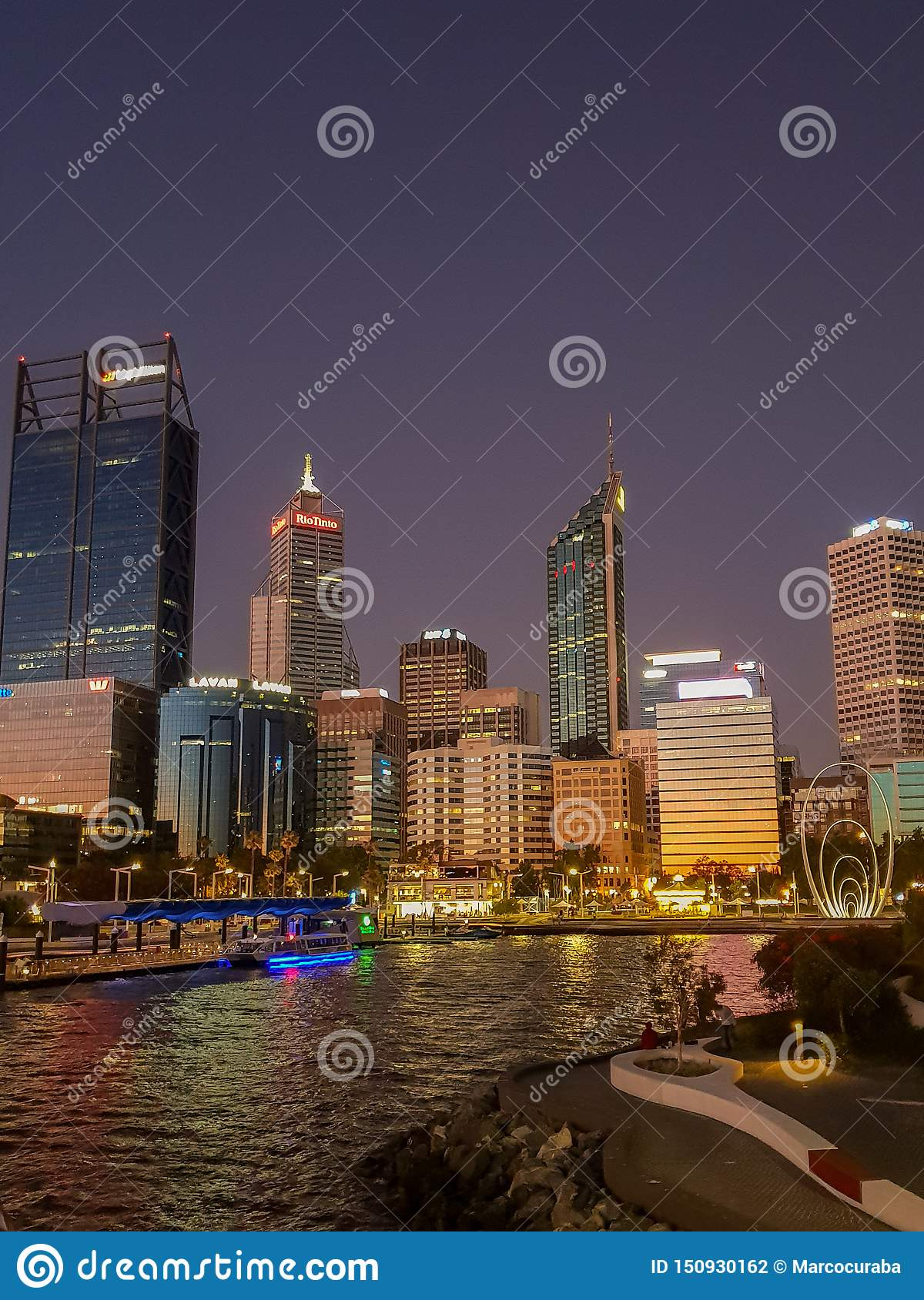 View of the Skyline of Perth and elizabeth quay