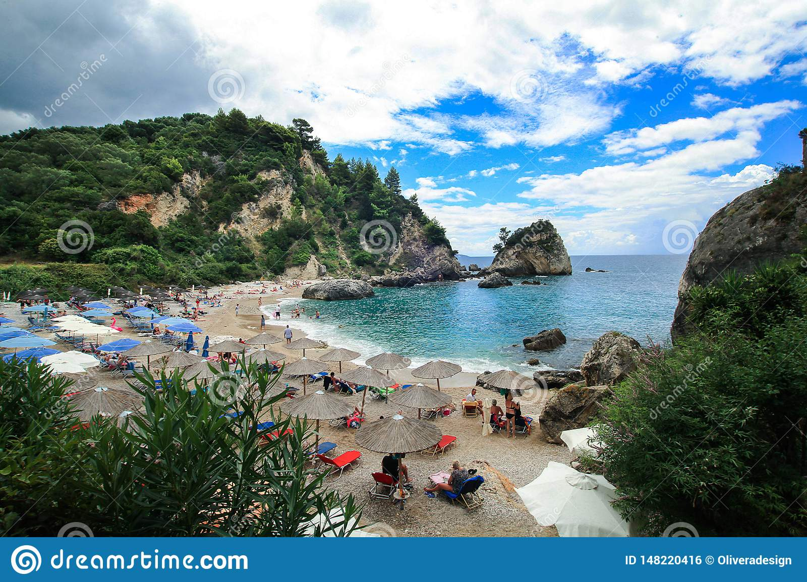 View of the small beach Piso Krioneri