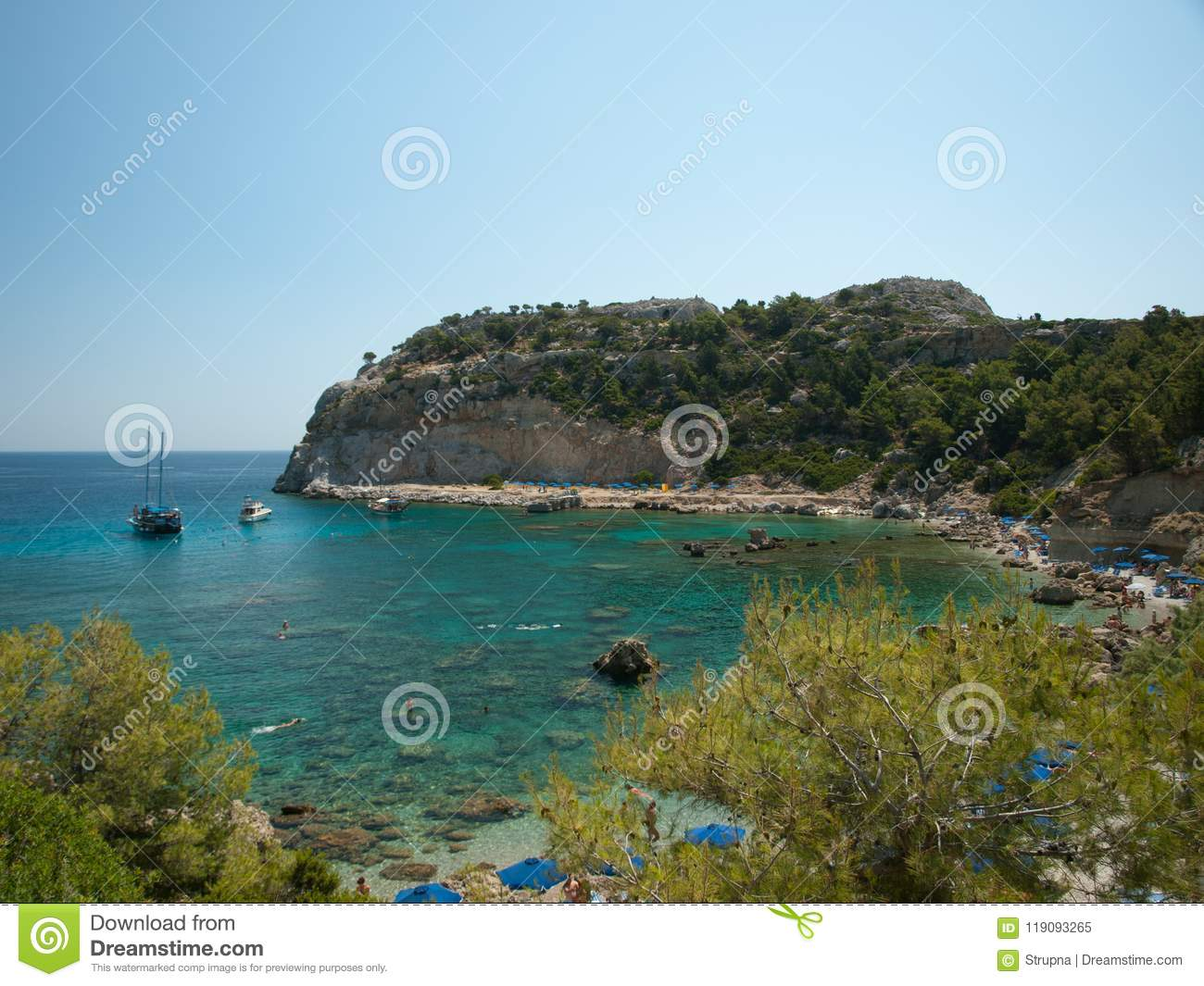 A small gulf with clear water, Rhodos