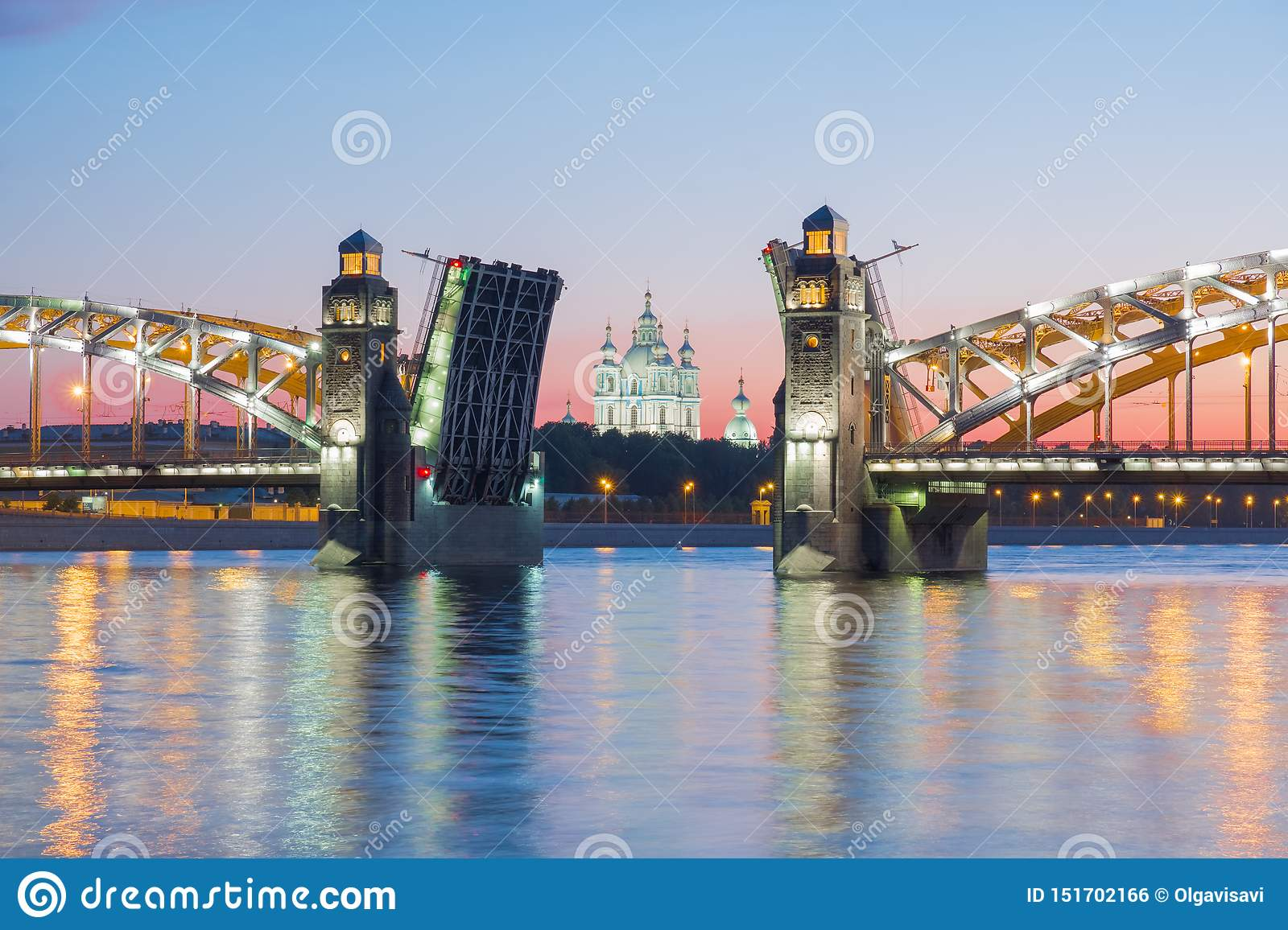 View of the Smolny Cathedral and the divorced Bolsheokhtinsky bridge during the white nights. St. Petersburg. Russia