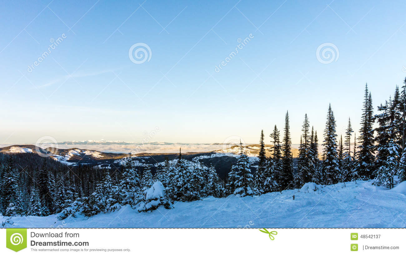 View From A Snow Covered Mountain Stock Photo Image 48542137