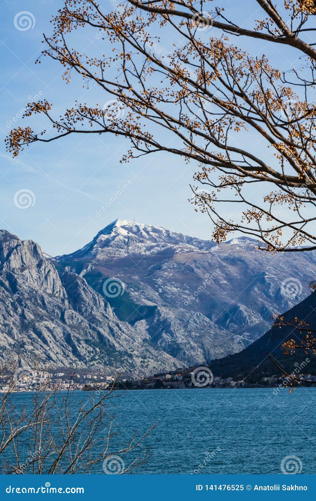View of the snowy peak Lovcen in Montenegro
