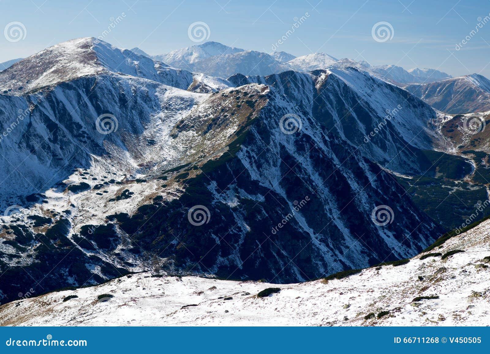 View of Snowy Ridges of Western Tatras Mountains, Western Carpathians, Slovakia