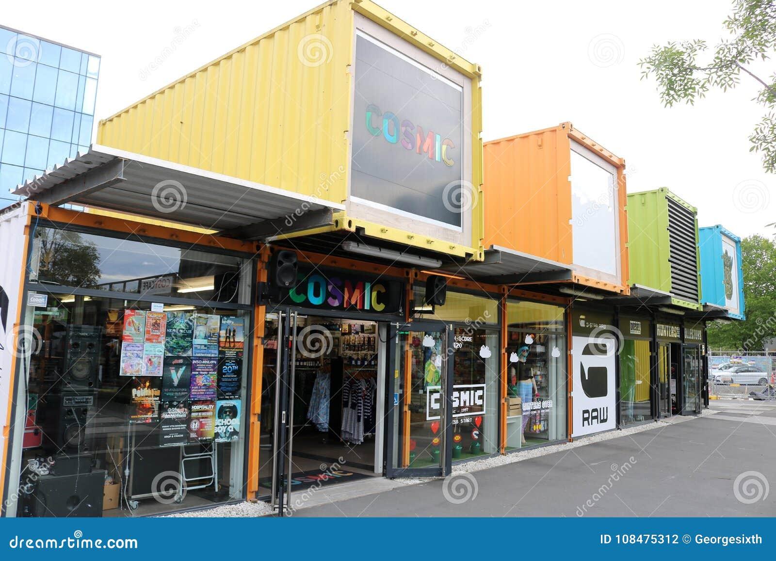 Shops Container Mall Cashel Street Christchurch NZ Editorial