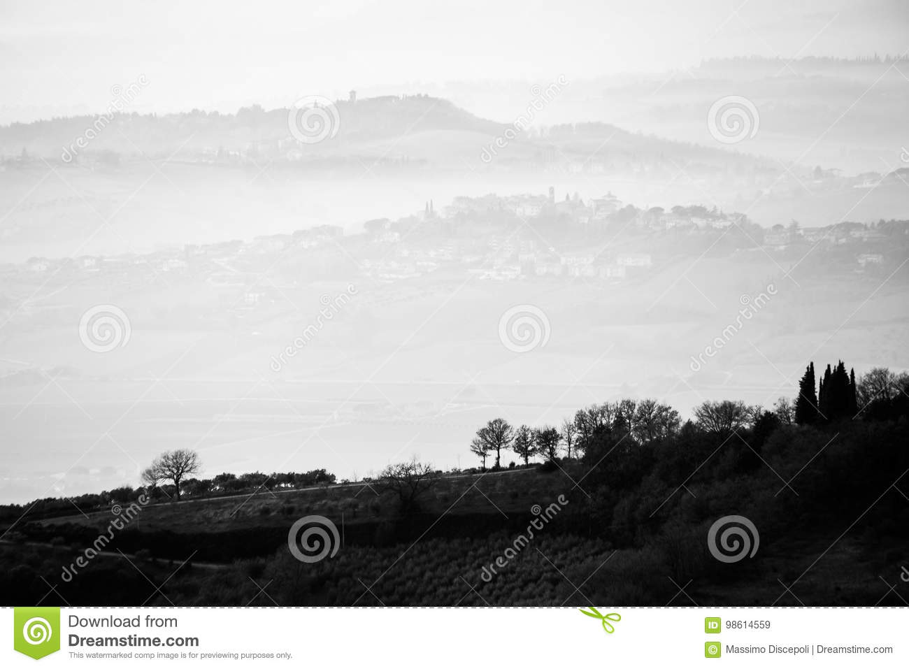 A view of some trees in the foreground with layers of hills and