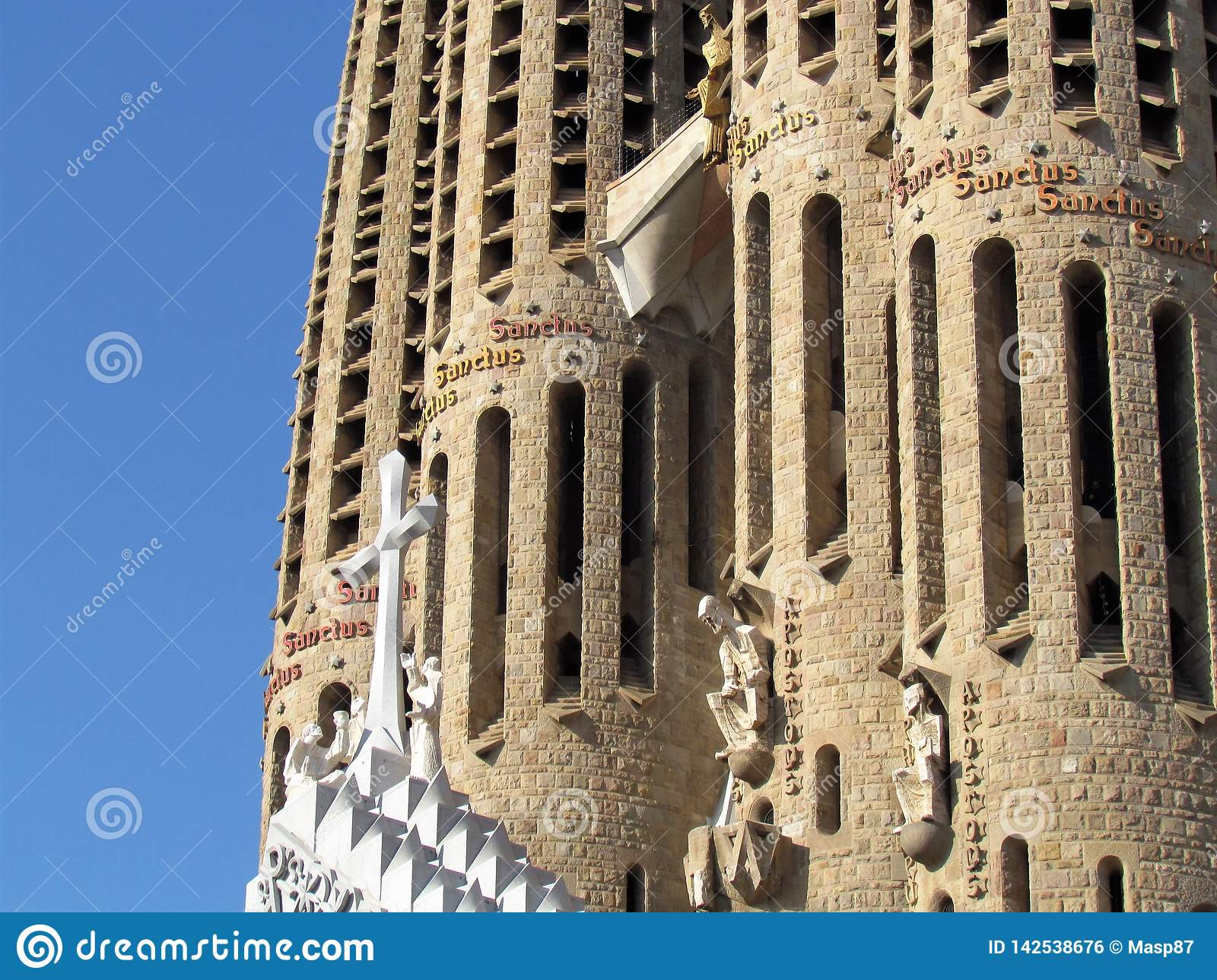 Details of Sagrada Familia, the cathedral of Barcelona, the Masterpiece designed by Antony Gaudi