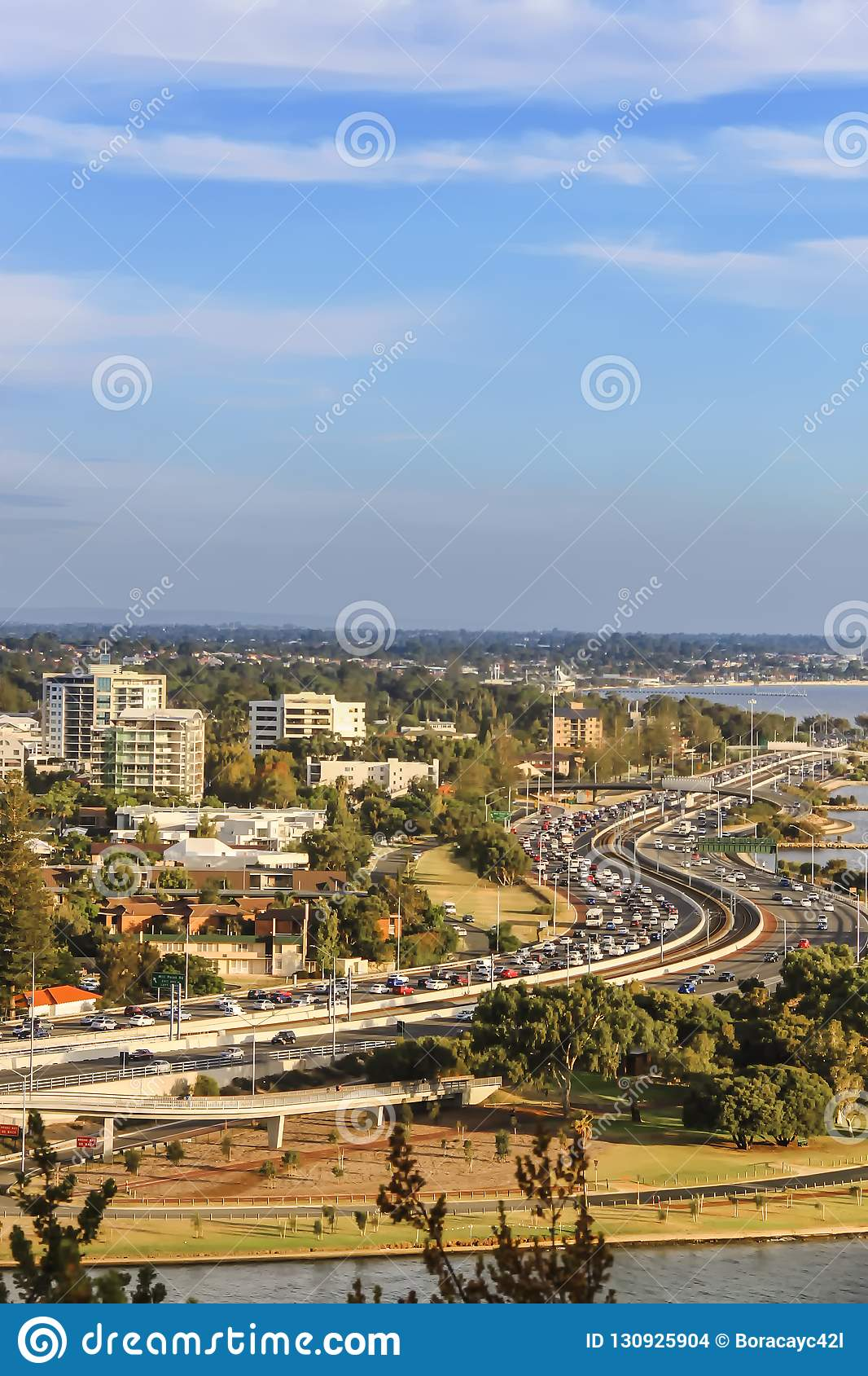 View of South of Perth skyline and winding Kwinana Freeway