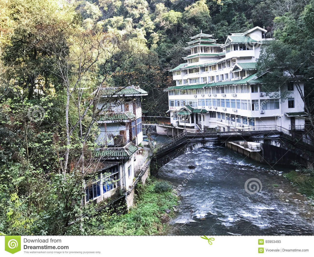 view of spa resort hotel near river in jiangdi editorial stock photo