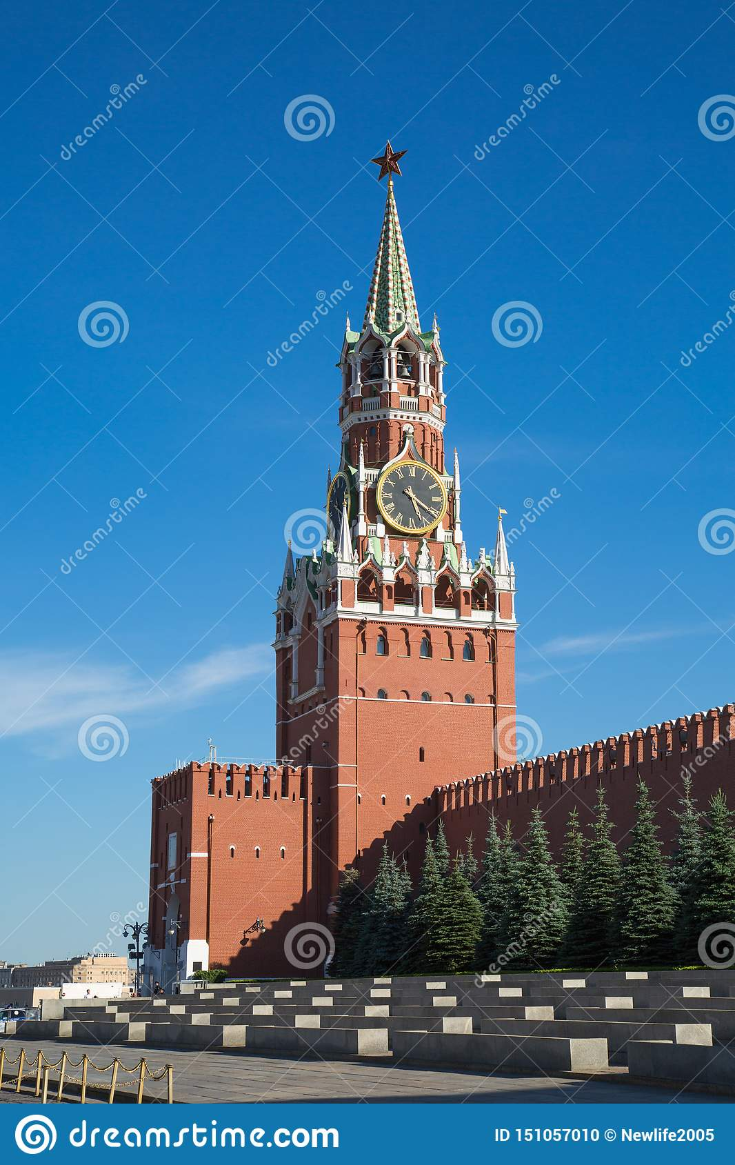 View of the Spasskaya tower of the Moscow Kremlin on a clear Sunny day. Red square