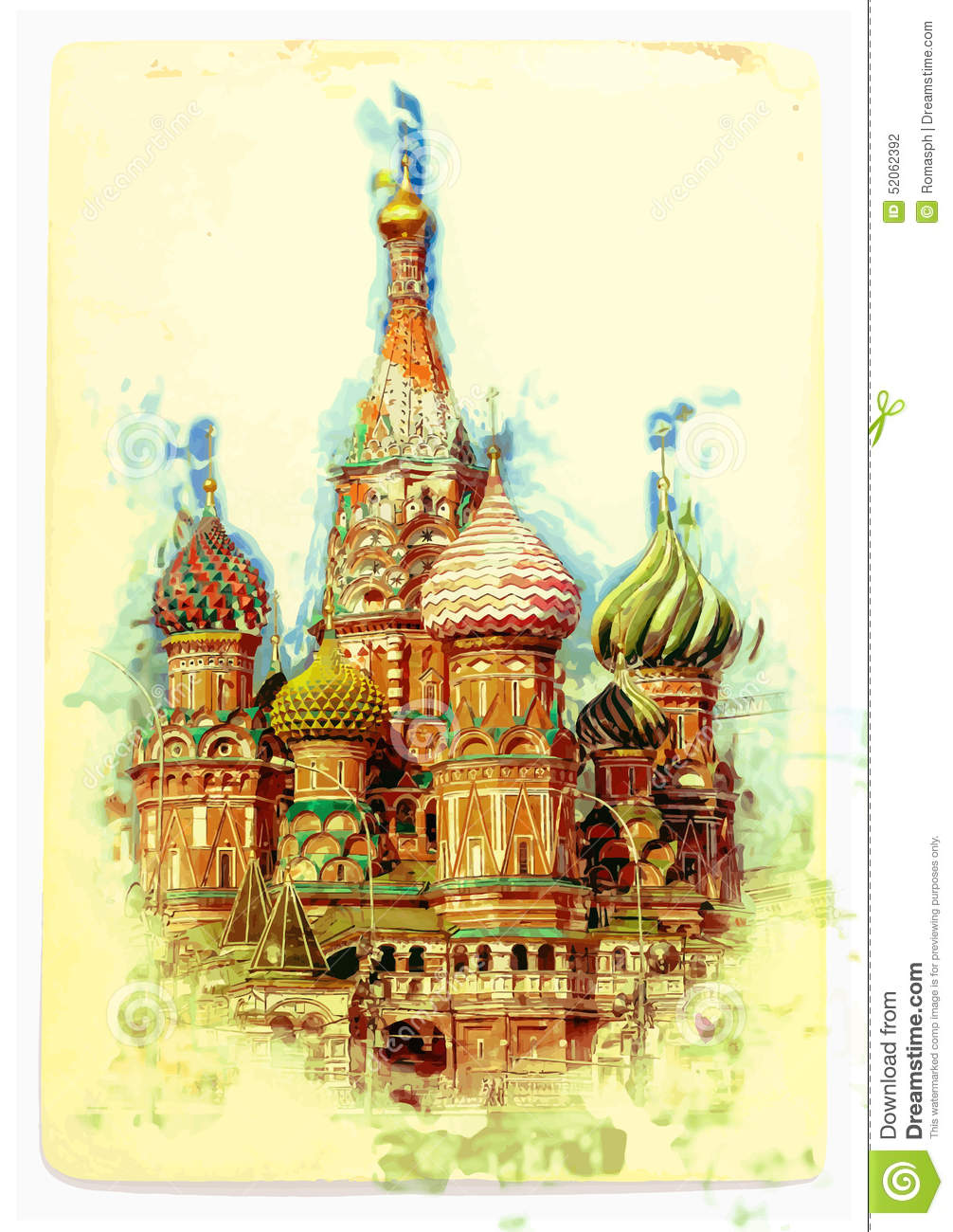 View Of St Basil S Cathedral Stock Vector Image 52062392