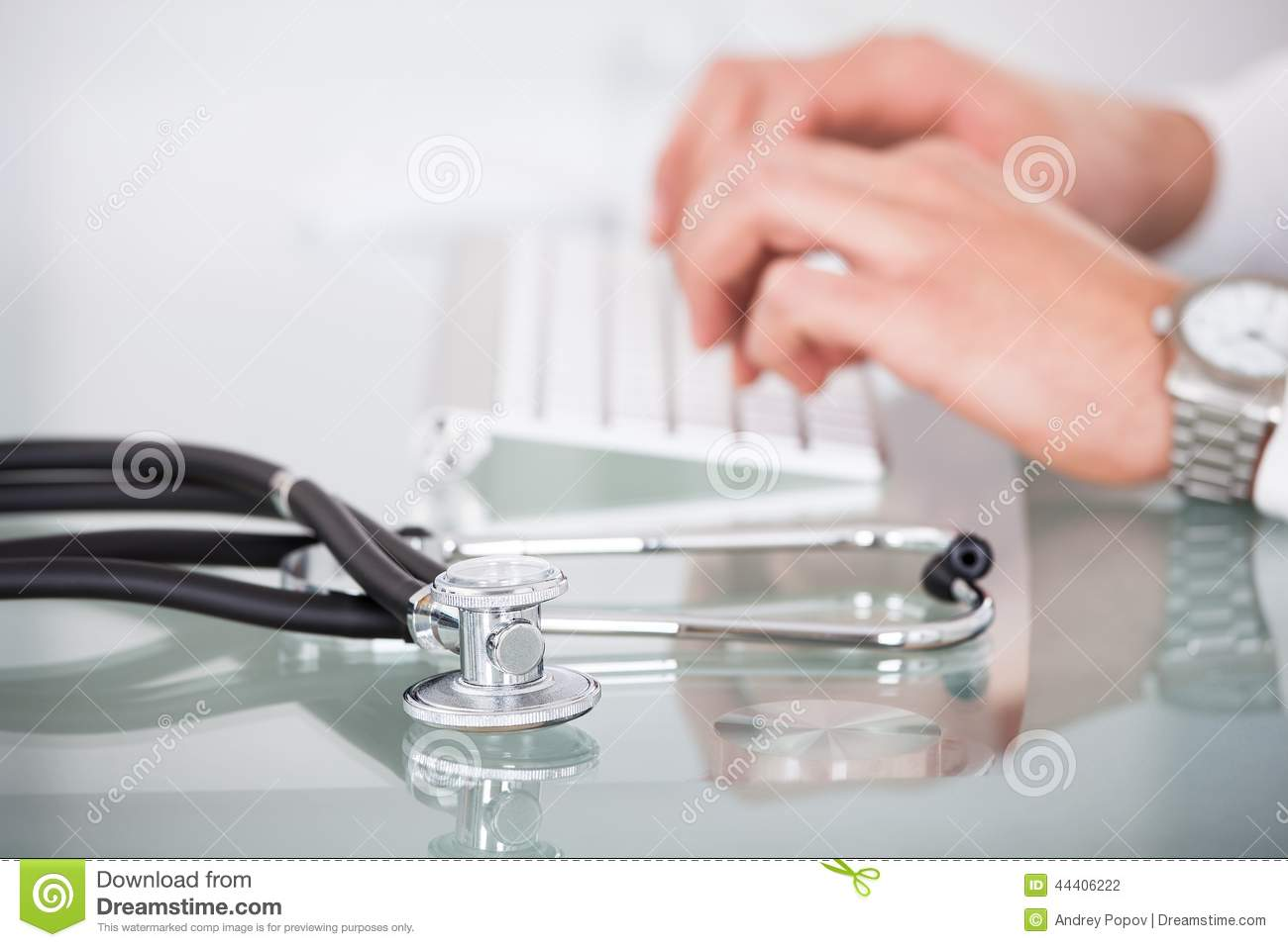 View Of Stethoscope With Doctor Using Computer Keyboard ... Doctor Stethoscope On The View