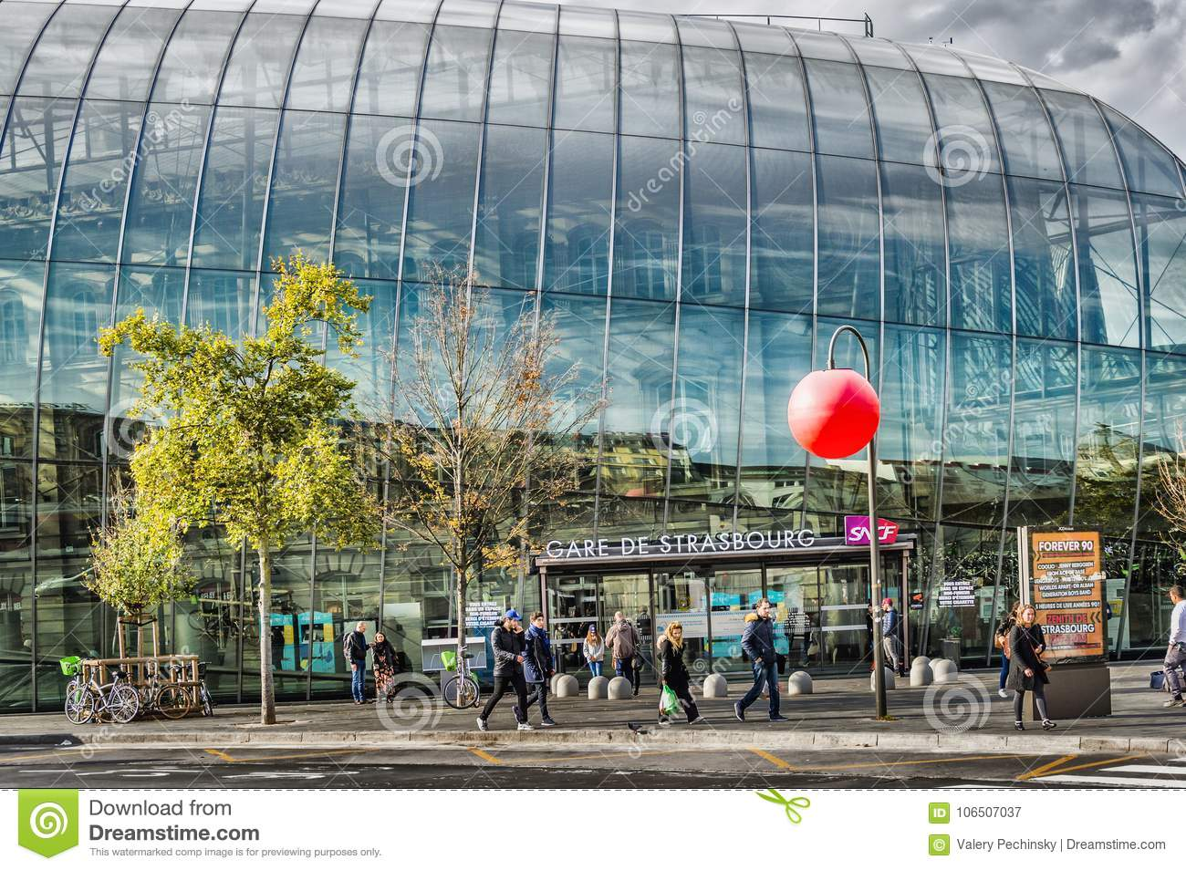 Strasbourg Railway Station editorial photography  Image of bicycles