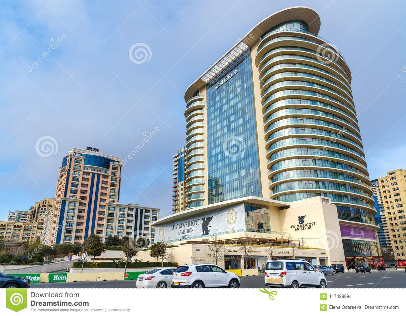 View On The Street And Holiday Inn Hotel And Caspian Hotel In Center ...
