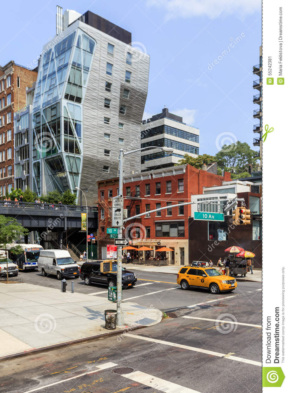View of street with modern building in New York, USA