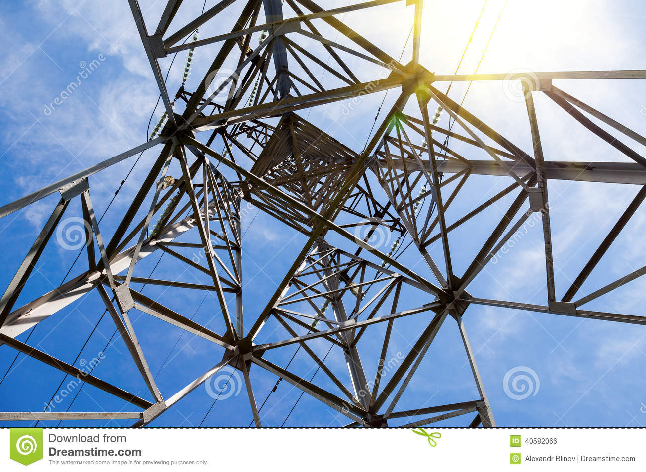 View of the structure under power transmission tower
