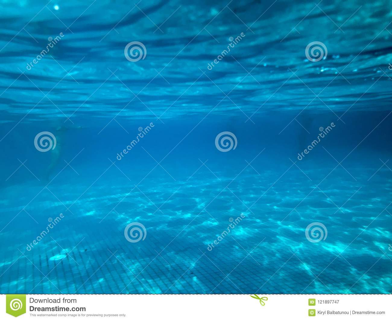 View Swimming Pool With Ceramic Tiles Under Blue Water Underwater