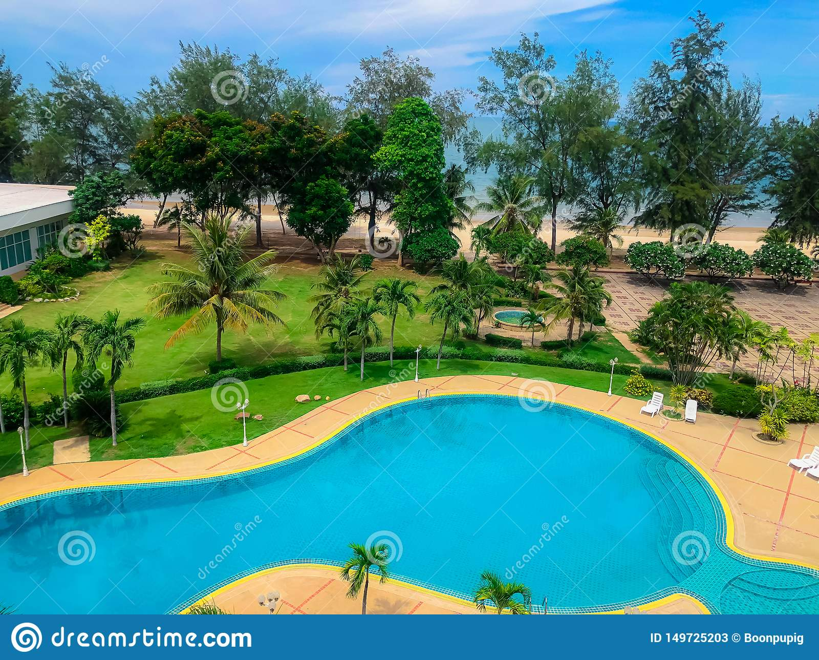 Top View Of Swimming Pool Near The Beach,pool With Modern ...