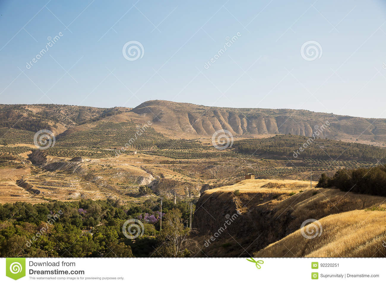 A view of the Syrian side of the Golan Heights .